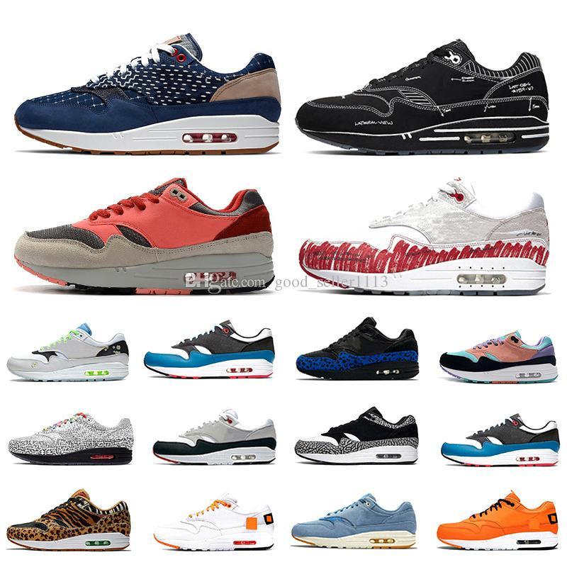 حذاء رياضي Nike Air Max 1 Airmax x Denham Schematic 1 للرجال من Sketch to الجرف النصي 1s Animal Pack Parra elephant طوكيو متاهة ماز ذا انيمال باك للرجال والنساء أحذية رياضية رياضية