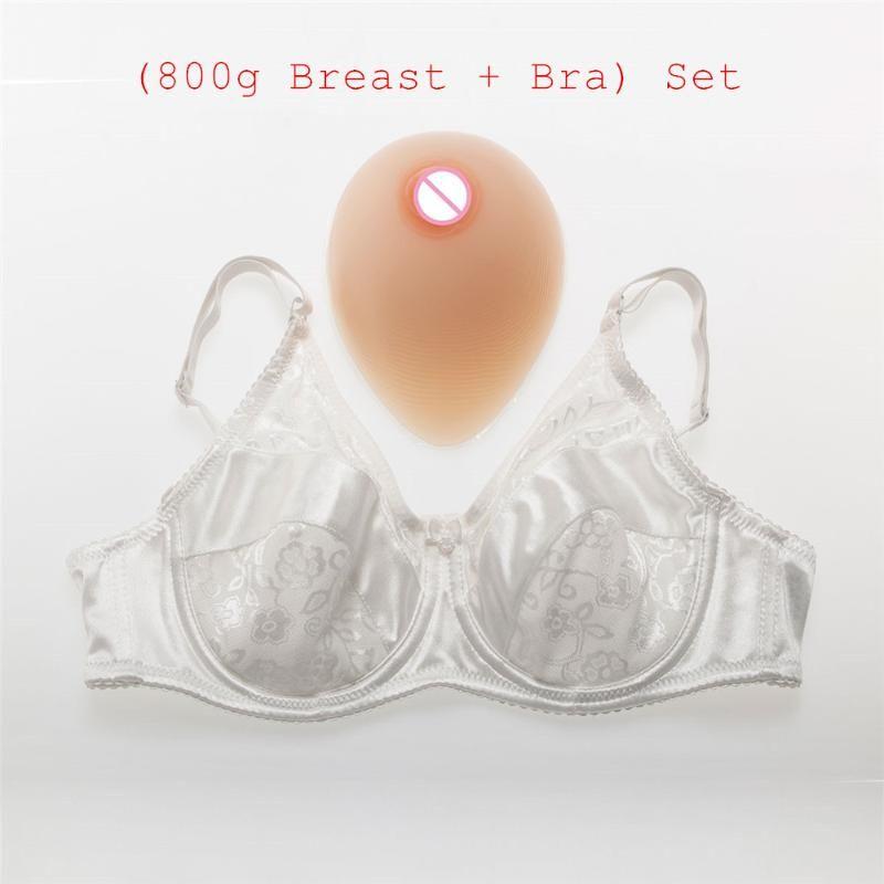 C Cup 800g/pair Transvestite Teardrop Silicone Boobs Breast Form+Sexy Crossdresser Shemale Mastectomy Pocket Bra Set