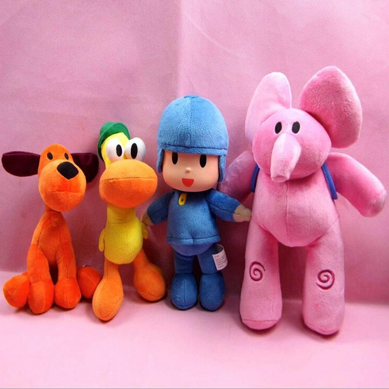 4pcs/Set Pocoyo Plush Toy Elly & Pato & POCOYO & Loula Plush Doll Soft Peluche Stuffed Animals Toy for Kids Children Gift LJ200810