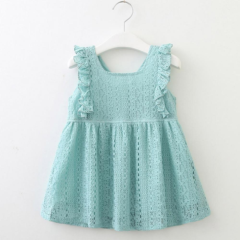 Clearance New Summer Dress Toddler Kids Baby Girls Clothes Sleeveless Lace Ruffles Party Princess Dresses 0116