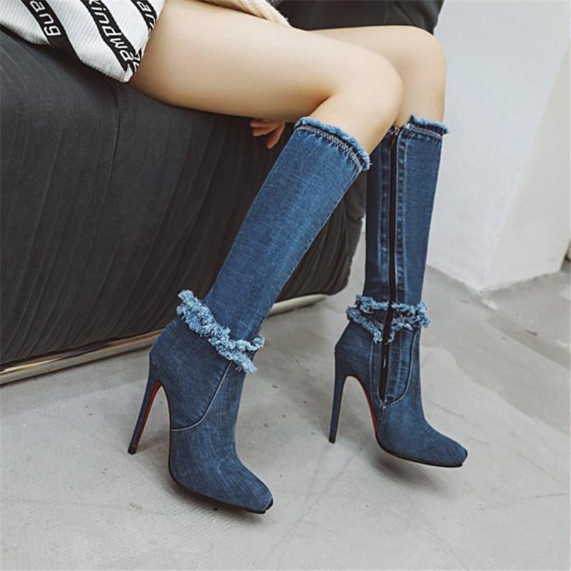 PXELENA 2020 Retro Blau Denim Kniehohe Stiefel Stiletto Heels Sexy Mode Schuhe Weibliche Partei Datum Kleid Long Riding Booties 43