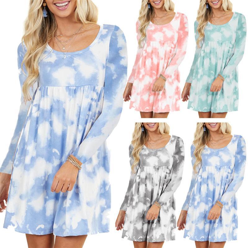 Tie Dye casuale 4 di colore S-5XL delle donne di Sundress manica lunga allentata maglietta ragazze Summer Dress Plus Size 62.243.730,96604 milioni