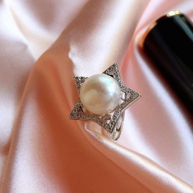 Black Friday Zircon Big Star Silber 925 justierbare Ringe für Frauen 100% natürliche Frischwasserperlen Fine Jewelry dFpJ #