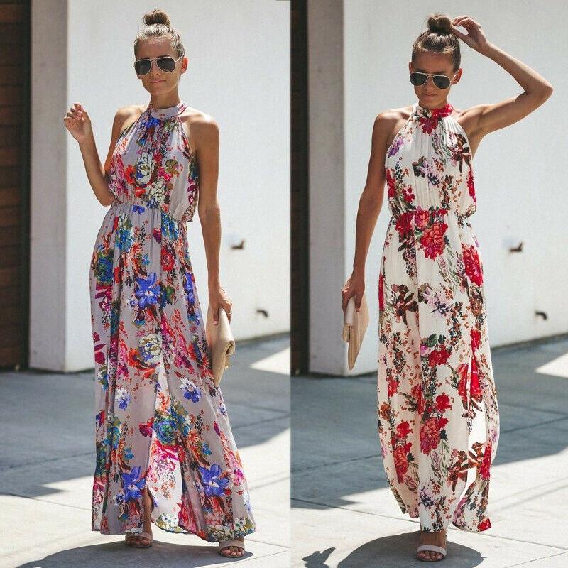 Women Summer Boho Long Maxi Dress Evening Cocktail Party Beach Dresses Sundress#