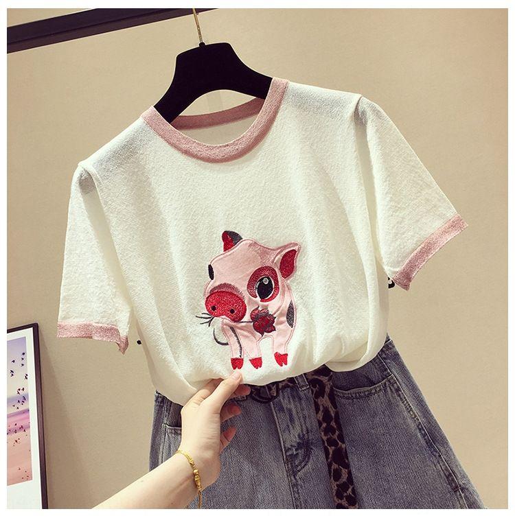 ob60z Breve ins cappotto maglietta top 2020 nuova seta brillante manicotto mezzo di stile coreano T-shirt manica di seta bianca del ghiaccio sciolto top ins estate delle donne