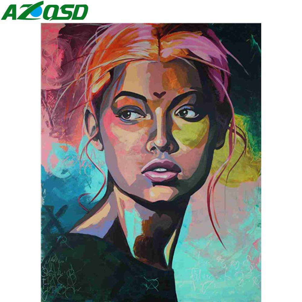 AZQSD olio pittura dai numeri Dipinti African Women fai da te Ritratto di vernice per numero Quadro Kit 40x50cm No Frame