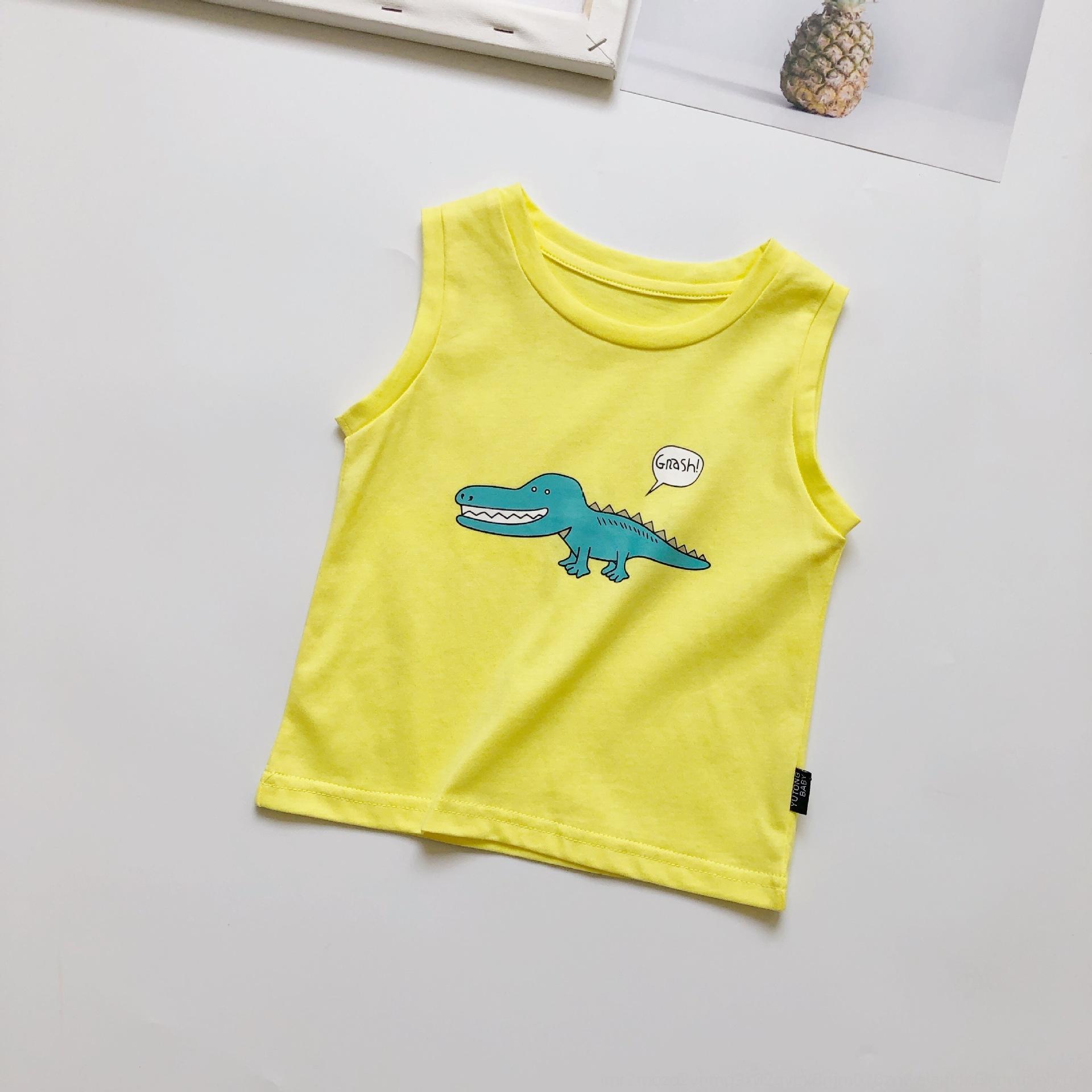 تشن ما الأطفال ملابس الصيف الفتيان الأعلى سترة القليل ديناصور سترة بلا أكمام الأولاد الصيف 2020 كل مباراة قمة تنفس