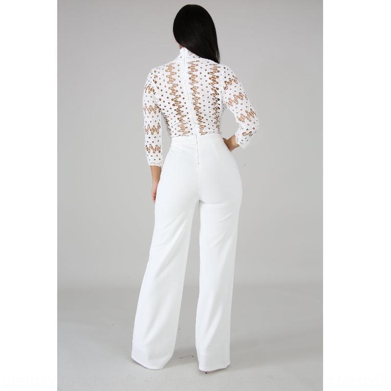 ADUCl CY8007 primavera cava colore solido di modo dei pantaloni della molla dei pantaloni delle nuove donne tuta casuale lungo tuta nuova manica