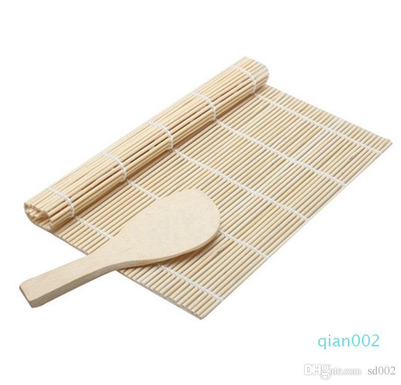 Bambus Weiß Sushi Rollen-Werkzeug-Set Mat Löffel Mold-Auflage Einfache DIY kreativer Eco Friendly Food Grade Praktische Scoop Neu 1 7TT ZZ
