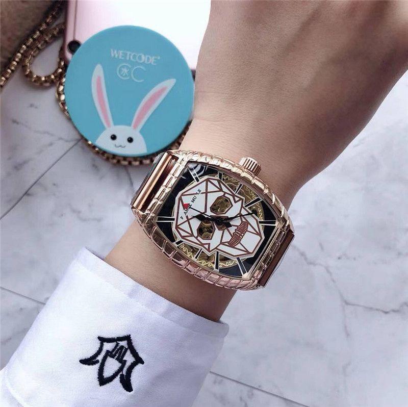 2020 Mode de bonne qualité Marque Montres Hommes Tonneau lumineux crâne de style squelette poignet bracelet en acier inoxydable montre mécanique boucle déployante