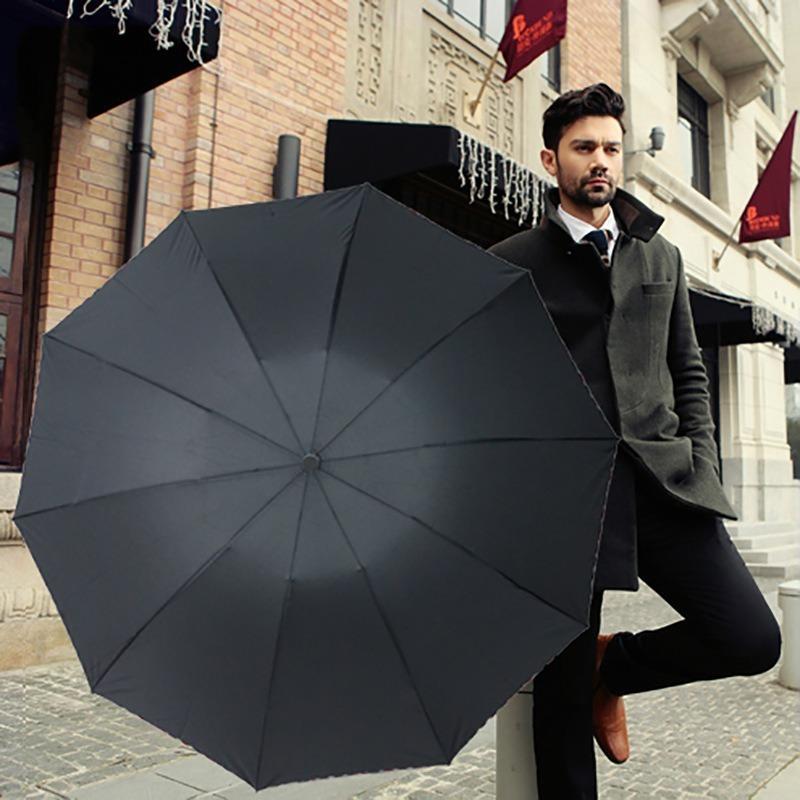 105cm Büyük Şemsiye Büyük Boy 10 Kemikler Manuel 3 Katlanır Şemsiye Düz Renk Reklam Çift Şemsiye Hediye Şemsiye