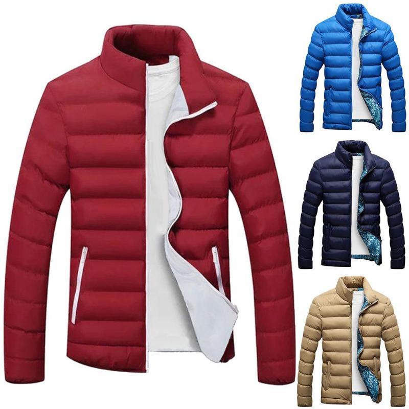 Más el tamaño de los hombres de color sólido cremallera del collar del soporte de la chaqueta de manga larga capa del algodón acolchado