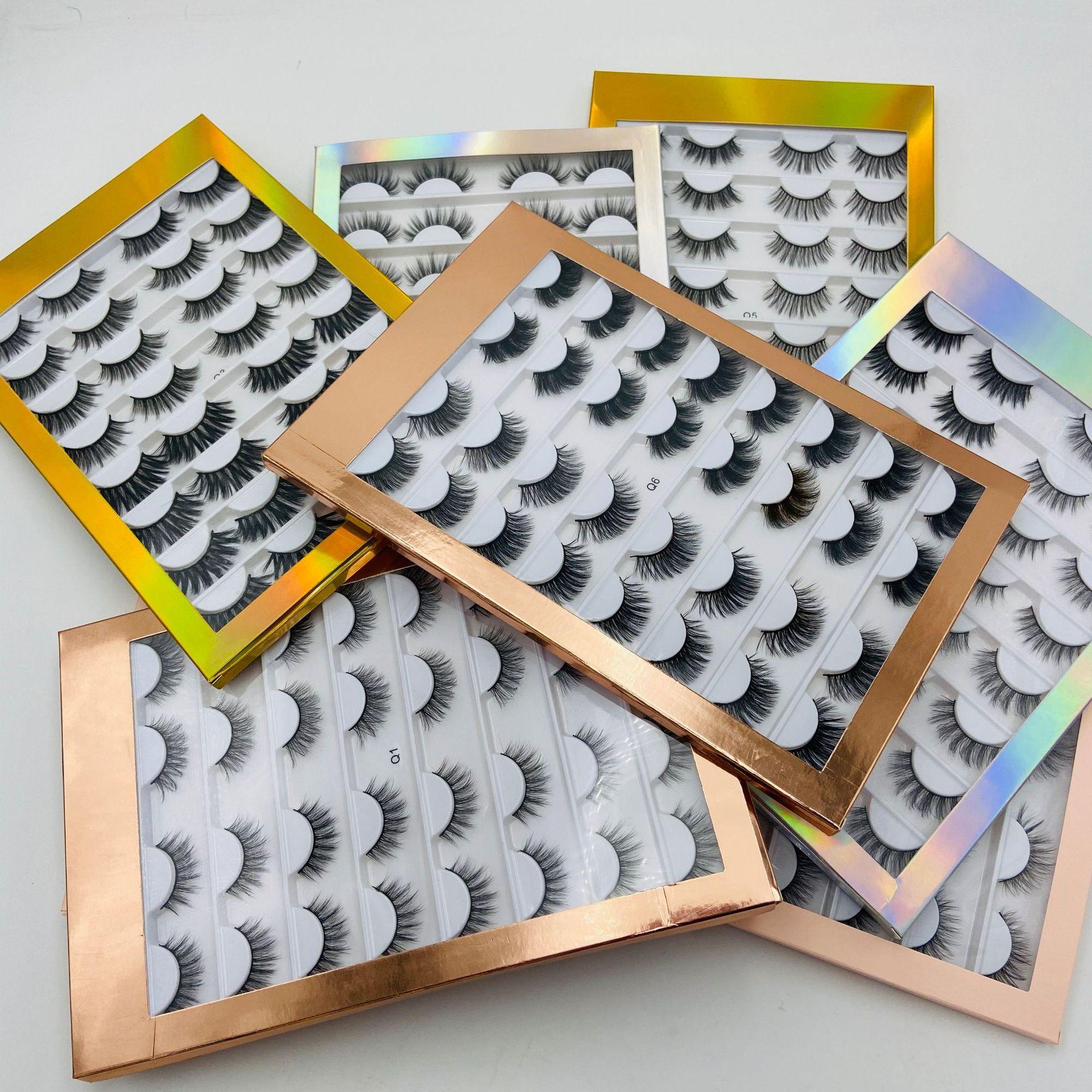 Бесплатная доставка ePacket 16 пар норка Ресницы 3D Накладные ресницы Толстые крест-накрест макияж наращивание ресниц Natural Volume Soft Поддельные Eye Lashes!
