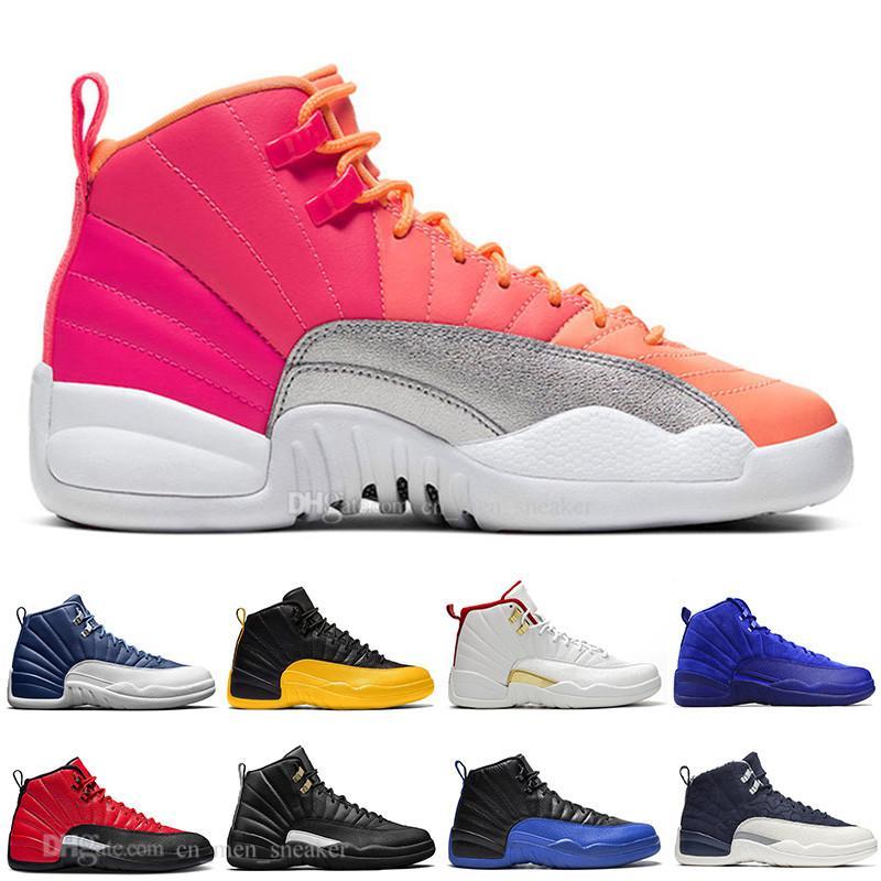 Новые 12 Камень Синий университет Золотой Reverse Flu Game Dark Concord WNTR Баскетбол обувь 12s GAME BALL черный нейлон Мужчины Спортивные кроссовки Кроссовки