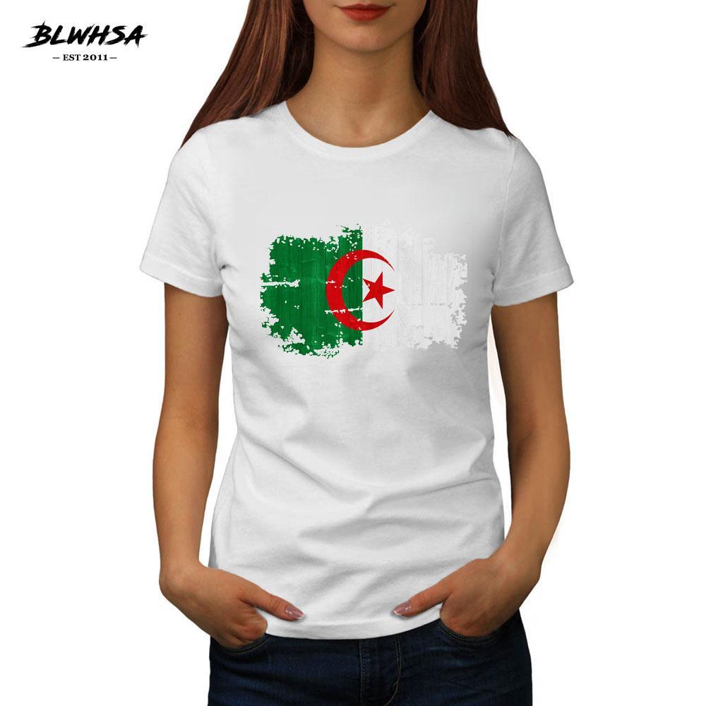 Nuevo verano camisetas o Las mujeres con cuello de algodón sólido de la manga corta de la bandera de Argelia Tees todo-fósforo femenino básicos tapas ocasionales