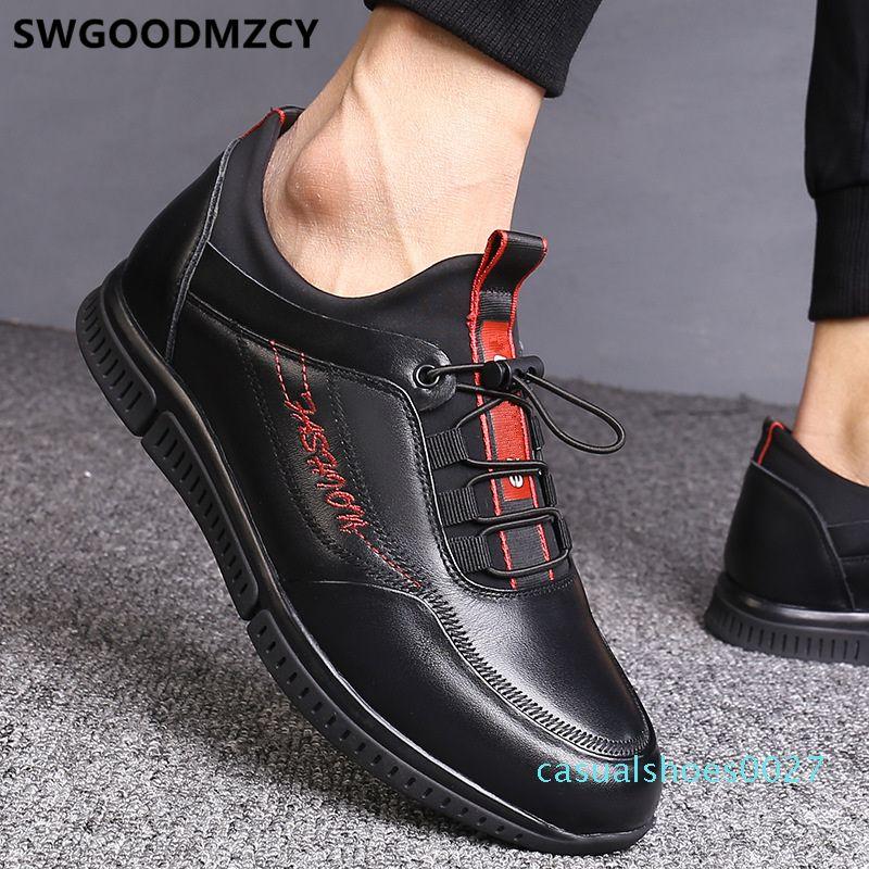 asansör erkekler ayakkabı erkekler yüksek kaliteli rahat deri moda chaussures homme luxe spor ayakkabısı homens C27 için ayakkabılar