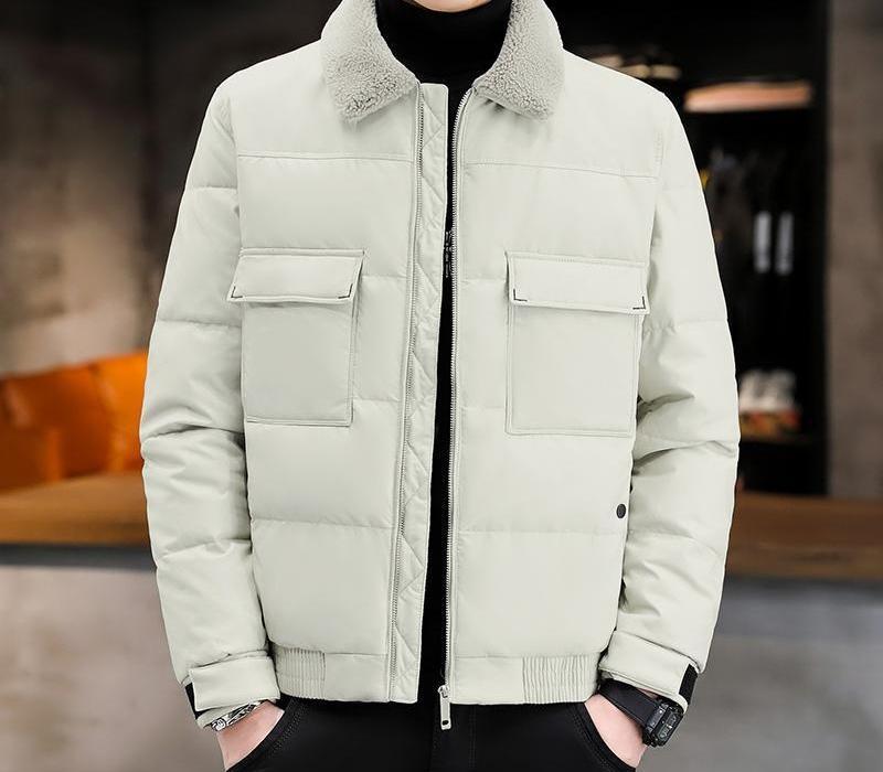 Parkas Erkekler Kış Ceket YENİ Aşağı Kürk Yaka çevirin Beyaz Aşağı Sıcak PU Deri Bombacı Ceket Erkek Kış Ceketler And55 Ördek