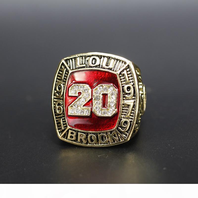Hall Of Fame di baseball 1961 1979 # 20 Lou Brock Team Champions campionato anello con legno box set souvenir Fan Uomini regalo all'ingrosso 2020