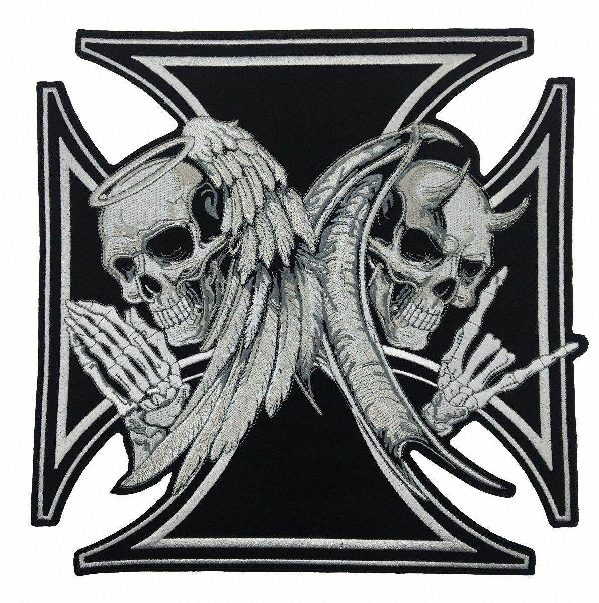 NEW ARRIVAL LARGE SIZE CROSS DEATH DEVIL SKULL PATCH 천사 SKULL 오토바이 BIKER 수 놓은 BACK PATCH IRON ON SEW 무료 배송 CGLR 번호
