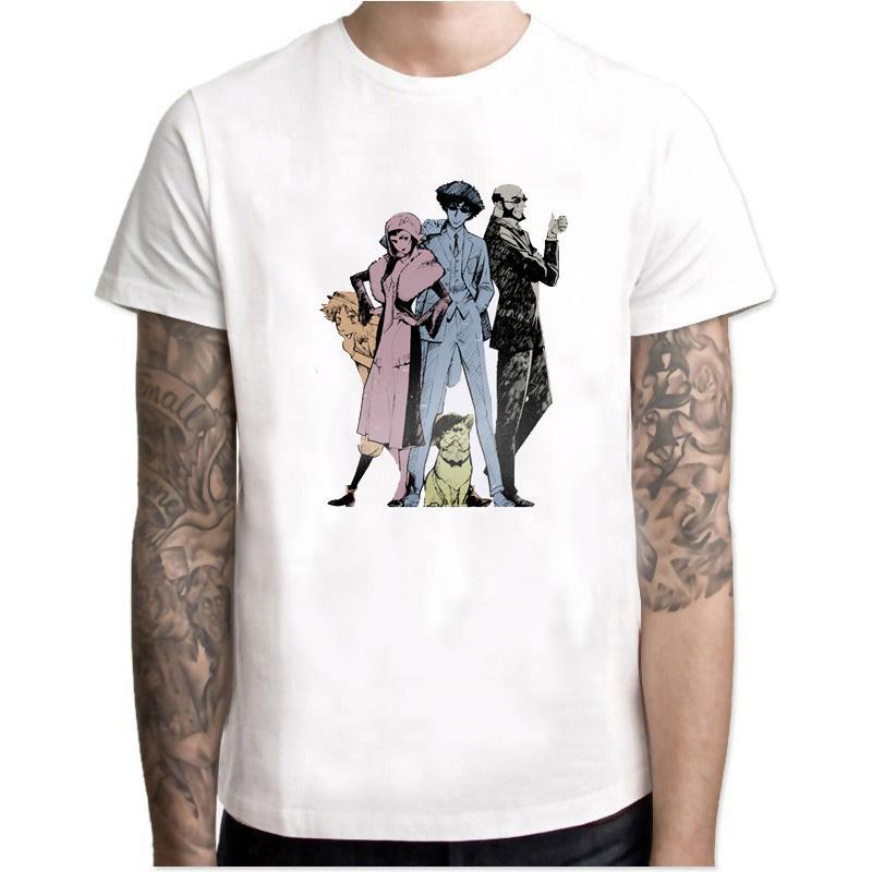 New Cowboy Bebop Anime Camiseta Homens Moda Cool branco dos desenhos animados camiseta Verão O-Neck manga curta Imprimir Tops Camisetas Hombre