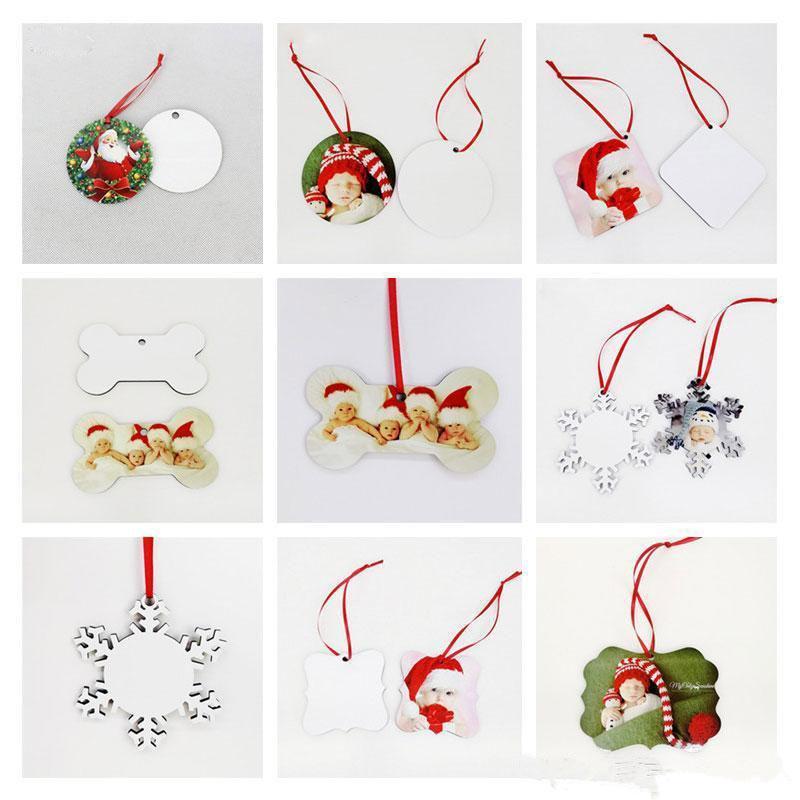 18 Styles Ornements Décorations de Noël Sublimation Mdf ronde forme carrée Décorations à chaud Transfert Impression Blank FY4266 consommable