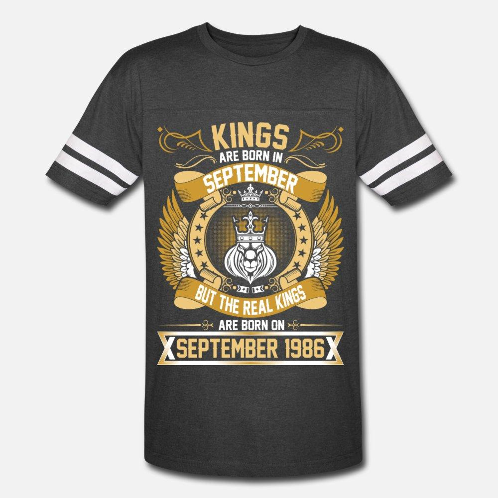 Gerçek Kings Are Born On Eylül 1986 t gömlek erkekler Tasarım% 100 pamuk Yuvarlak Yaka Resimler İlginç Bina yaz Desen gömlek