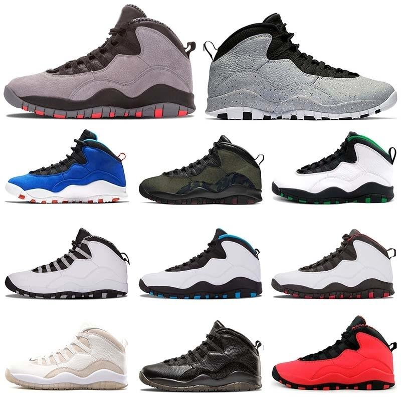 Mens al por mayor 10s fresco de cemento gris Jumpman 10 VO blanca zapatilla de baloncesto X GS Fusión Roja Seattle West Nakeskin