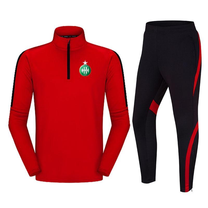 ASSE نادي كرة القدم الساخنة الرجال التدريب دعوى البوليستر سترة في الهواء الطلق الركض رياضية عارضة ومريحة تناسب كرة القدم