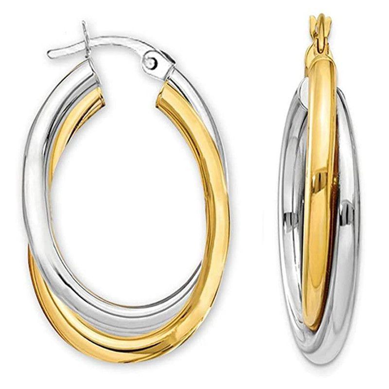 New Trendy Stainless Steel Earrings Stud Hoop Earring Two Layers Colors Engagement Ear Piercing Jewelry For Women