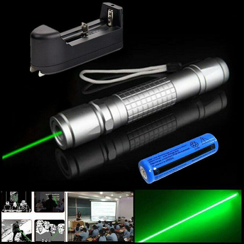 Switch Button Green Laser Pen Pointer 1mw 532nm Visible Beam Light Green Laser Pen + 18650 Battery + Charger