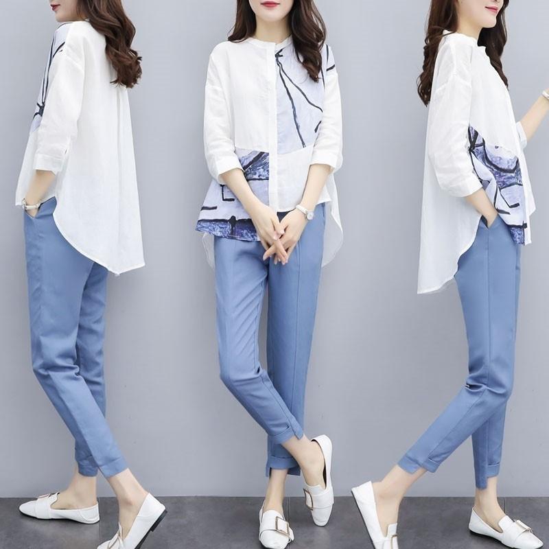 bRs14 B54pX 2020 новых женские Топ и брюки брюки весны большого размера два частей рубашки верхних штанов пят женских вскользь костюм р