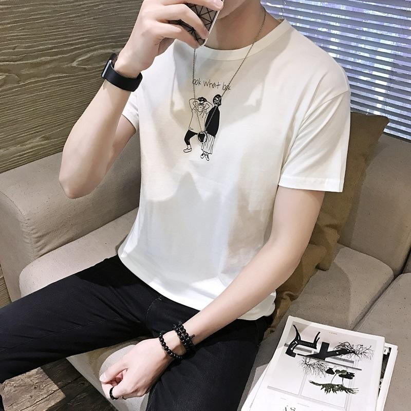 2020 Sommer neue shirtshort-sleeved T-Shirt modische oberste dünne Halbrundhals Männer Hülsenmänner Basis Shirt T-Shirt jN3Ka