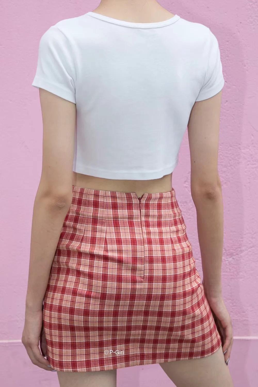 B6C9w BM Plaid LINE Plaid femmes jupe printemps et divisé 2020 nouveau côté sexy taille haute Une jupe ligne A