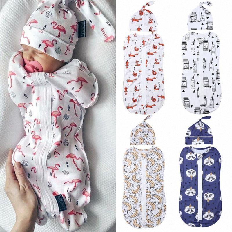 2adet Bebek Şapka blRw # ile Yumuşak Kundaklama Muslin Battaniye Baskılı Yenidoğan Bebek Uyku Tulumu Fermuar Wrap Kundak Battaniye Uyku Tulumu
