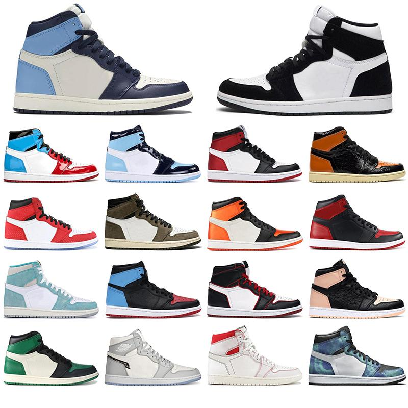 Nike AIR Jordan 1 무료 양말 newAir로요르단레트로 한 높은 농구 신발 경의 TO HOME GYM RED 시카고 TOP 3 레이커스 1 초 스포츠 스니커즈 36-46
