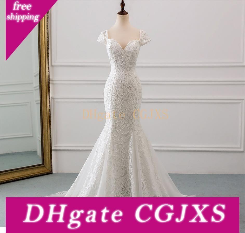 Kappen-Hülsen-Spitze-Nixe-Brautkleider mit Applikationen 2020 Ivory Lange Braut Kleid Vestido De Noiva Boho