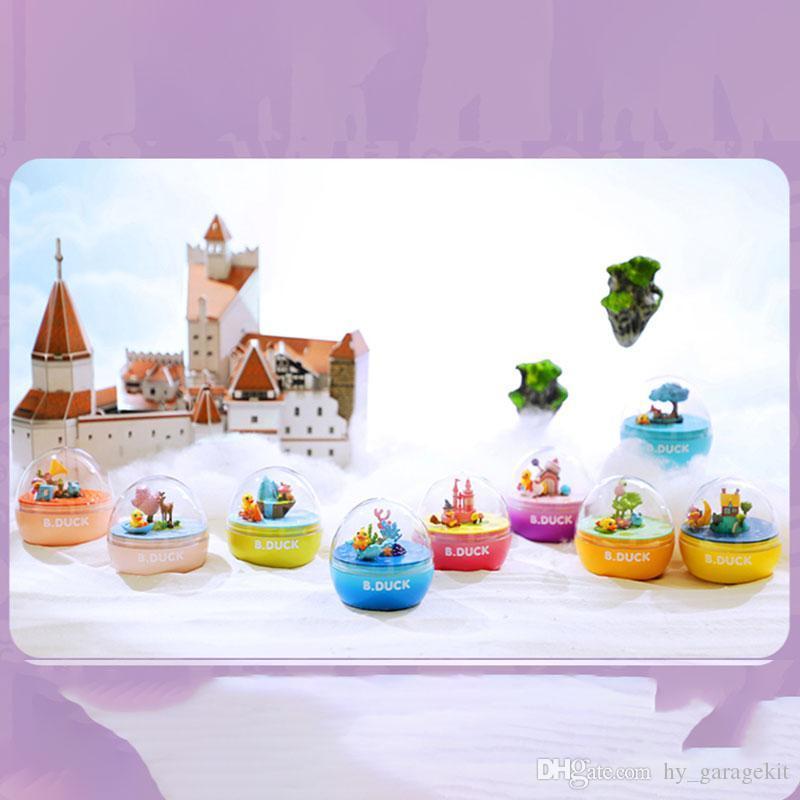 Nueva divertidas Pato amarillo divertido trabalenguas huevo huevo que giran juguetes castillo mágica caja de música caja de música y luz de la luna estanque de lotos presenta