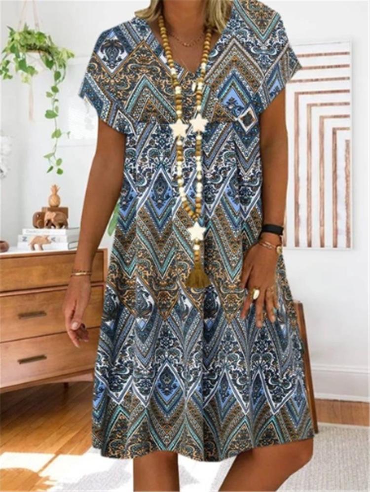 XkA3B kXjAW мода 2020 печатное сшивание V-образный вырез распечатан для женщин 2020 для коротких рукавов сшивания V-образного вырез платья с короткими рукавами платья моды