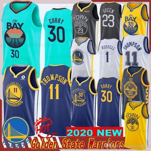 Stephen 30 Köri Erkek Jersey Klay 11 Thompson 2020 NCAA Yeni Basketbol Formaları Draymond 23 Yeşil Stil En Kaliteli Dikişli Formalar