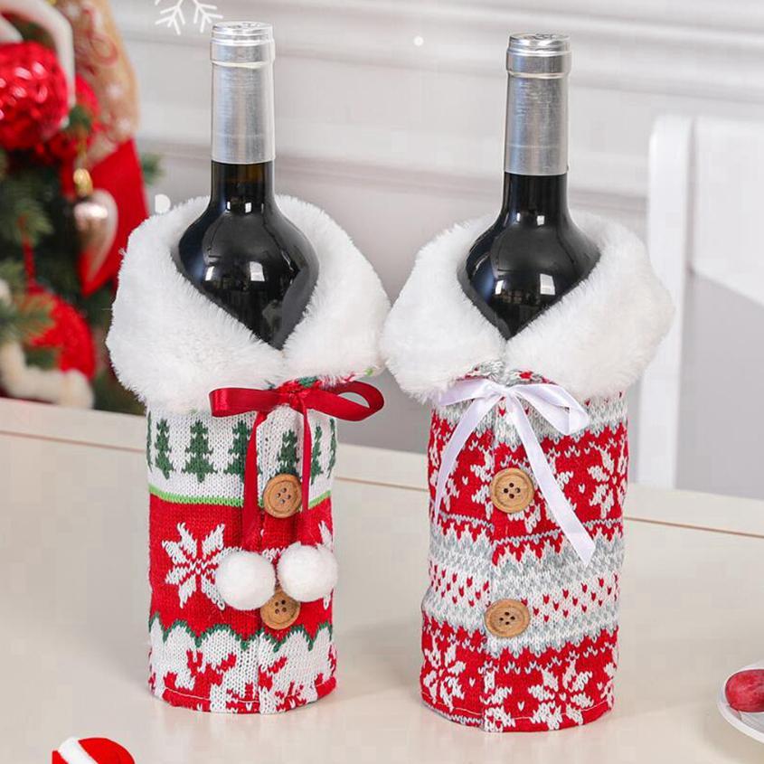 Novo Natal com vinho cyz2743 arco monte floco de neve floco de garrafa de garrafa de roupa de garrafa tampa de vinho de xmas saco de capa de Natal ornamento de Natal decoração wi mxku