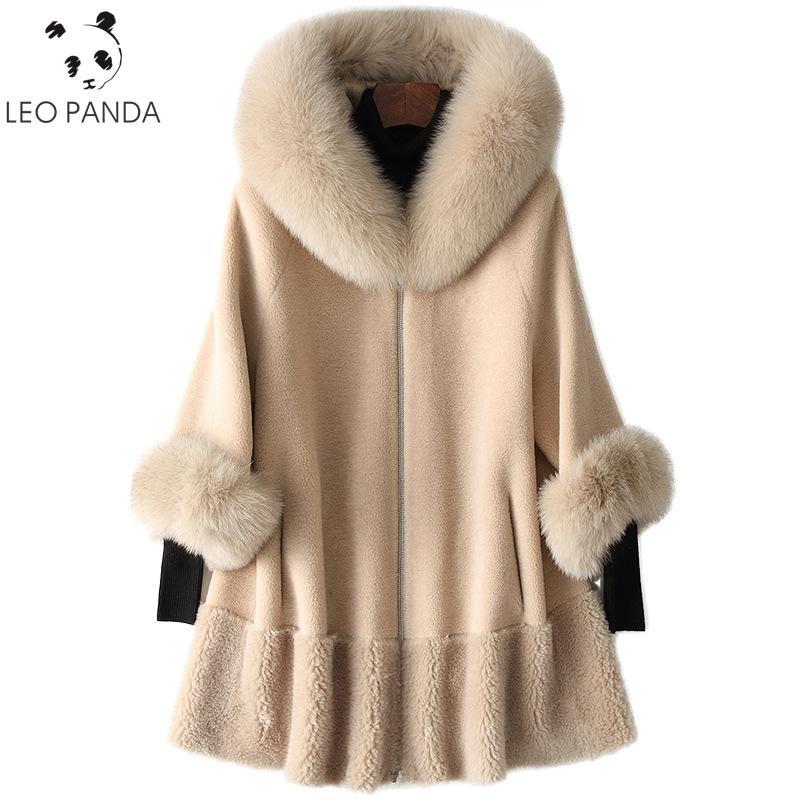 2020 Winter-reale Pelz-Mantel-Frauen-Pelz-Kragen-lange Jacke koreanische Kleidung aus Wolle Mantel Jacken