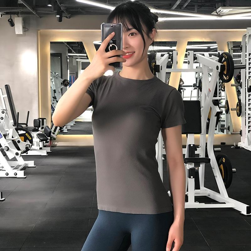Nouvelle remise en forme solide été couleur et à l'automne col rond T-shirt de type T-shirt coupe slim yoga respirant course à manches courtes 2NxRH
