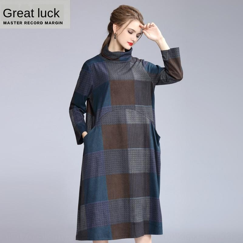 6BnJv 2019 moda outono e inverno elegante requintado gola alta quadriculada impressa AW16 shi shang Kuan manga longa tamanho grande solta alta d