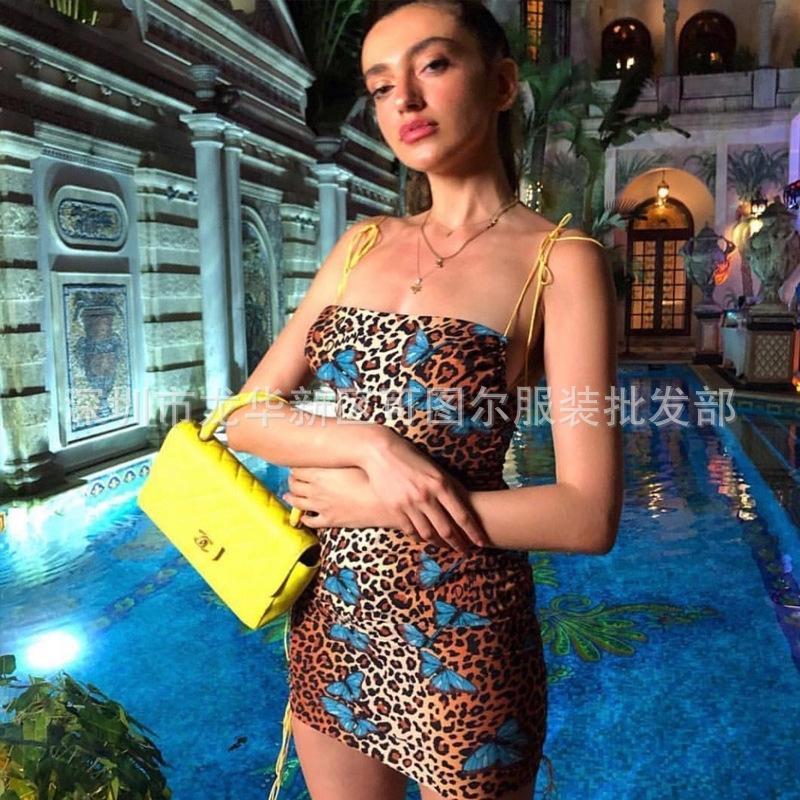 CF6Jf cWqCk New leopardo Verão em linha saia borboleta tira fluorescente sexy estilingue 2020 celebridade temperamento suspender saia estilingue férias