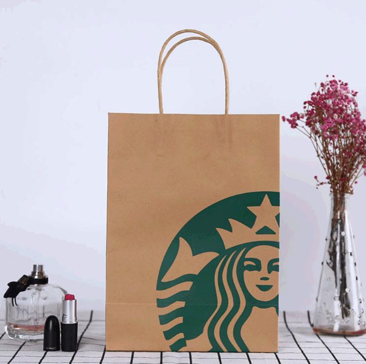 أحدث 27.5x20x11cm حجم حقيبة تسوق ستاربكس، صندوق الحلوى هدية عيد الميلاد، دعم شعار التخصيص الشامل