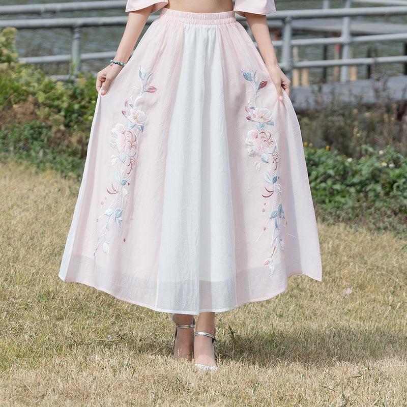 hGX1V 2228 # весна и шифон вышитой новые летняя подружка нового стиля юбка вышитого этнический стиль шифона шить китайскую юбку