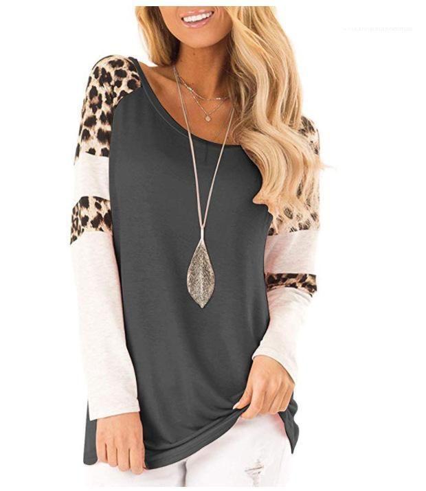 Uzun Kollu O-boyun İlkbahar Sonbahar Casual Kadınlar Leopard Patchwork tişörtleri Tops
