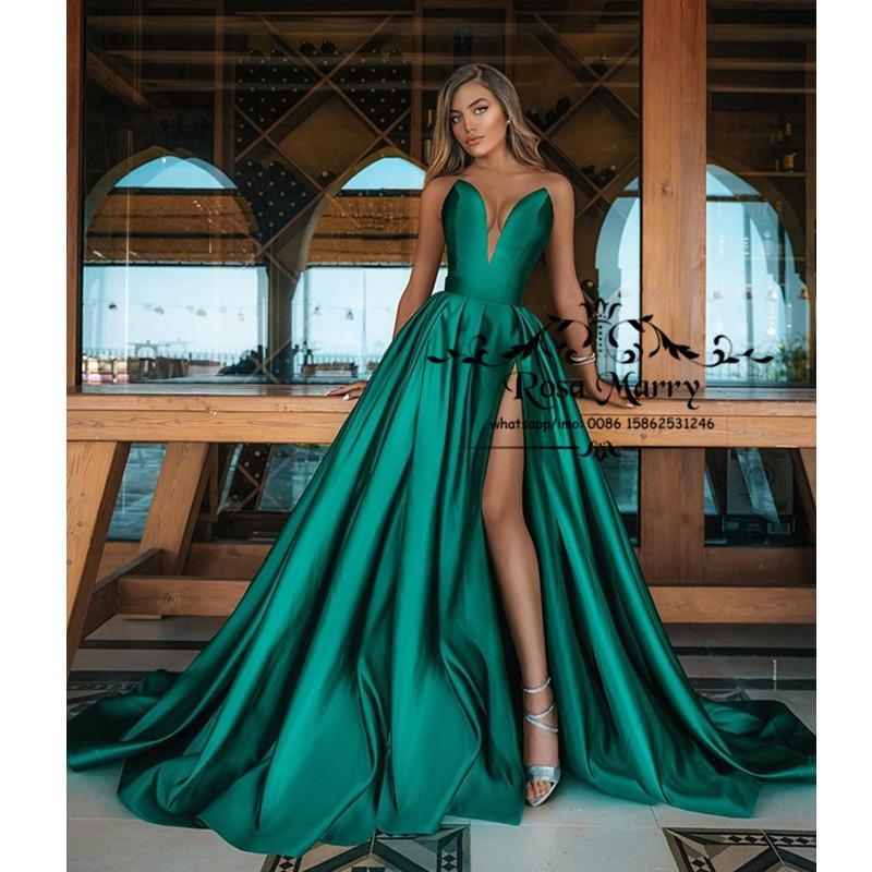 Hunter Green Plus Размер Дешевые платья выпускного вечера 2021 Линия Милая High Split Простые атласные vestidos де фиеста Engagements партии вечера мантий