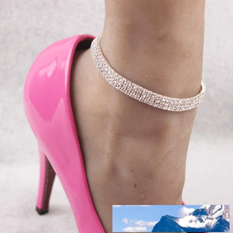scintille cristallo elastico tripla fila cavigliere bracciali gioielli ballerino piede estate showgirl tallone con carta di imballaggio al minuto