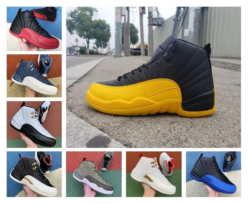2020 nuevos zapatos de baloncesto para hombre 12s jumpman Universidad de oro de la piedra azul 12 Juego de la gripe Real El Maestro Oscuro Gris Hombres atléticos las zapatillas de deporte